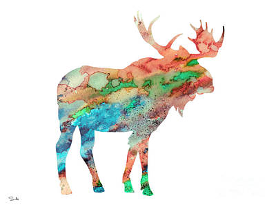 Moose Watercolor Painting - Moose by Watercolor Girl