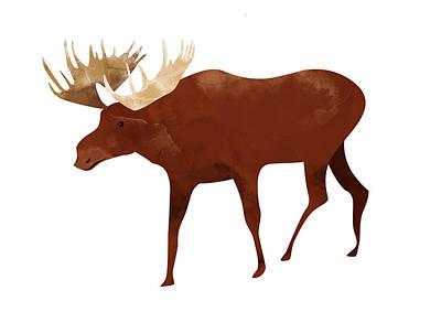Digital Art - Moose by Randoms Print