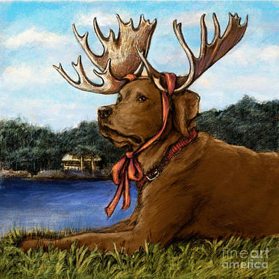 Chocolate Labrador Retriever Mixed Media - Moose Sighting - Chocolate by Kathleen Harte Gilsenan
