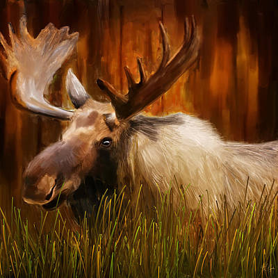 Cabin Wall Painting - Moose Solitude by Lourry Legarde