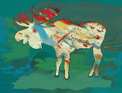 Charcoal Mixed Media - Moose - Wild Animal Stylised Pop Art Drawing Portrait Poster by Kim Wang