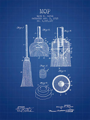 Mop Patent From 1935 - Blueprint Print by Aged Pixel
