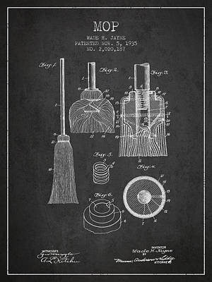 Mop Patent From 1935 - Charcoal Print by Aged Pixel