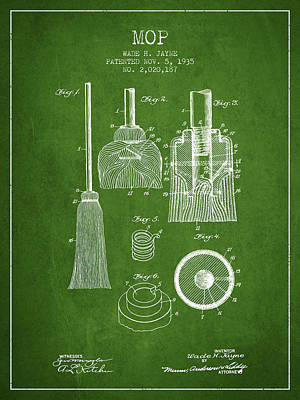 Mop Drawing - Mop Patent From 1935 - Green by Aged Pixel