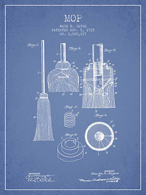 Mop Drawing - Mop Patent From 1935 - Light Blue by Aged Pixel