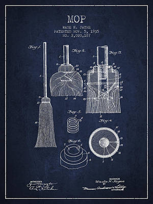 Mop Drawing - Mop Patent From 1935 - Navy Blue by Aged Pixel