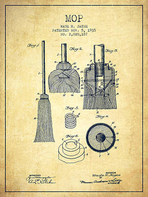 Mop Drawing - Mop Patent From 1935 - Vintage by Aged Pixel