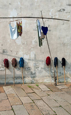 Photograph - Mops And Laundry 1  Wuzhen China by Rob Huntley