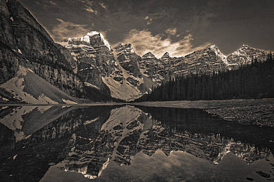 Photograph - Moraine Lake At Sundown - Black And White by Stuart Litoff