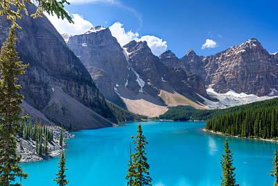 Mountain Reflection Lake Summit Mirror Photograph - Moraine Lake - Banff National Park by Matt Dobson