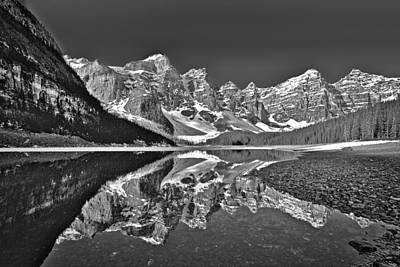Photograph - Moraine Lake - Black And White by Stuart Litoff