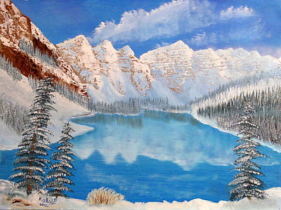 Painting - Moraine Lake By Winter Time  by Peter Kallai