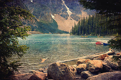 Canoe Digital Art - Moraine Lake by Maria Angelica Maira