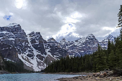 Jordan Painting - Moraine Lake Nestled In The Valley Of The Ten Peaks - Banff National Park by Jordan Blackstone