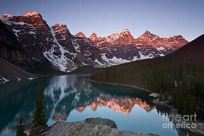 Mountain Reflection Lake Summit Mirror Photograph - Moraine Lake Sunrise by Ivy Ho