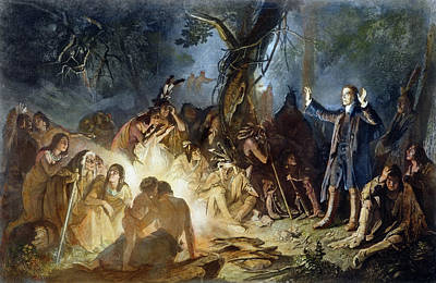 American Indian Children Painting - Moravian Missionary by Granger
