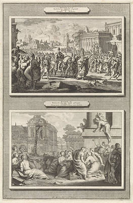 Mordecai Is Honored In Babylon And The Execution Of Haman Art Print by Jan Luyken And Jacob De Later And Bernard Picart