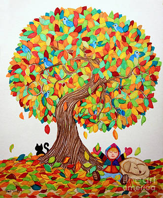 Fall Leaves Drawing - More Fall Fun by Nick Gustafson