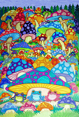 Animals Drawings - More Frogs Toads and Magic Mushrooms by Nick Gustafson