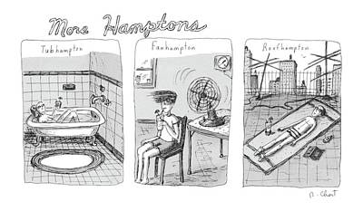 Hamptons Drawing - More Hamptons: by Roz Chast