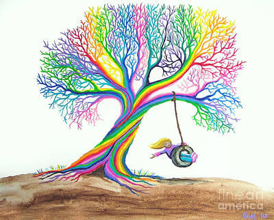 More Rainbow Tree Dreams Print by Nick Gustafson