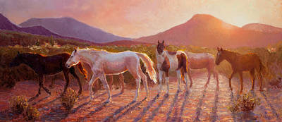 More Than Light Arizona Sunset And Wild Horses Original by Karen Whitworth