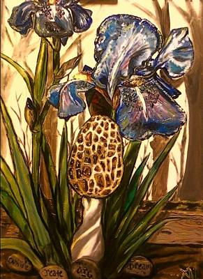 Painting - Morel In The Iris Bed by Alexandria Weaselwise Busen