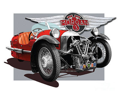 Two Wheeler Digital Art - Morgan 3-wheeler by Dan Knowler