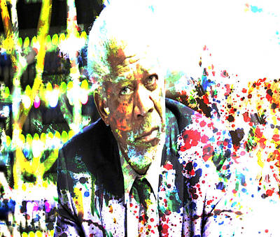Olympus Painting - Morgan Freeman by Brian Reaves
