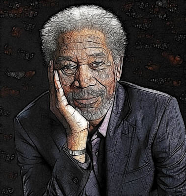 Art Print featuring the painting Morgan Freeman  by Georgeta Blanaru