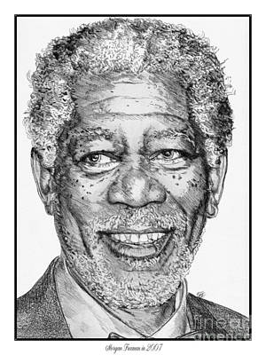 Drawing - Morgan Freeman In 2007 by J McCombie