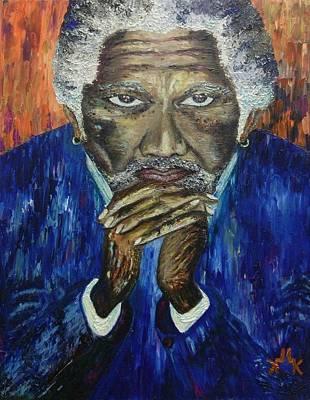 Painting - Morgan Freeman by Lettie Atkins