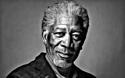 Hollywood Painting - Morgan Freeman Portrait by Florian Rodarte