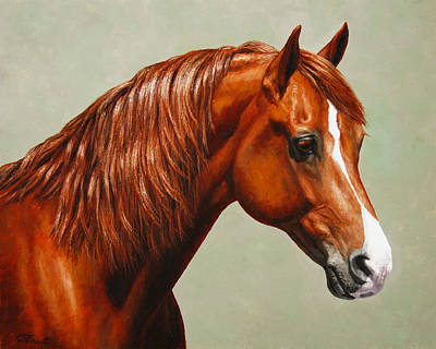 Sorrel Horse Painting - Morgan Horse - Flame by Crista Forest