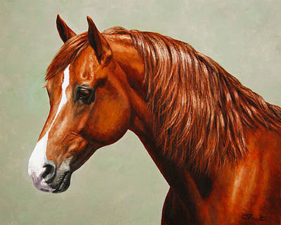 Chestnut Horse Painting - Morgan Horse - Flame - Mirrored by Crista Forest