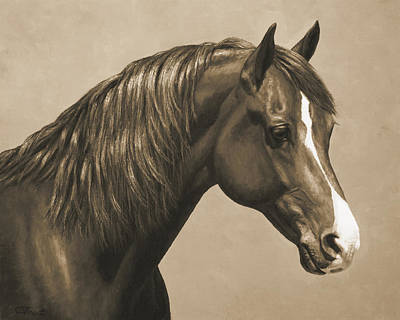 Monochrome Painting - Morgan Horse Painting In Sepia by Crista Forest