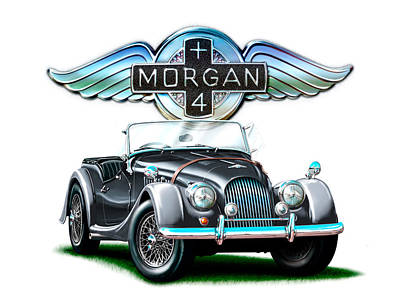 Morgan Digital Art - Morgan Plus 4 Blkgray by David Kyte