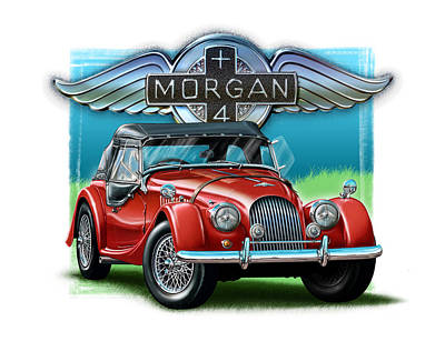 Morgan Painting - Morgan Plus 4 In Red by David Kyte