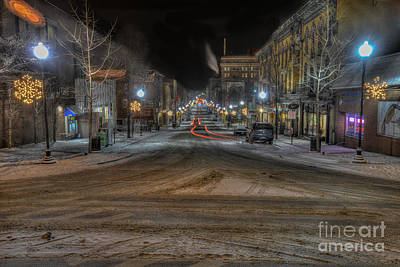 Art Print featuring the photograph Morgantown High Street On Cold Snowy Night  by Dan Friend