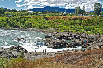 Rivers In The Fall Digital Art - Moricetown Falls And Canyon Fishing Operation On The Bulkley River In Moricetwown-british Columbia  by Ruth Hager