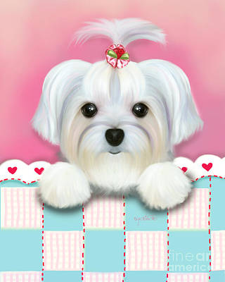 Puppies Mixed Media - Morkie Shelly by Catia Cho