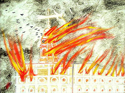 Painting - Mormon 1848 Nauvoo Temple Burning by Richard W Linford