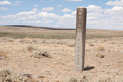 Photograph - Mormon Pioneer Trail Marker In Wyoming by Cindy Singleton