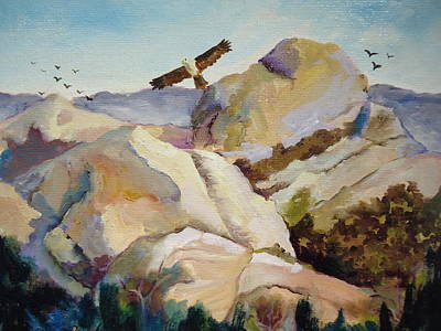 Painting - Mormon Rocks And Eagle by Luz Perez