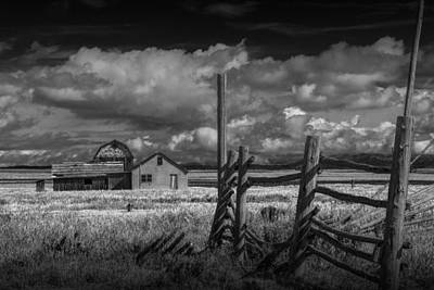 Brown Tones Photograph - Mormon Row Farm In Black And White by Randall Nyhof