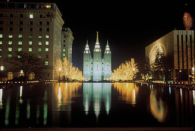 Salt Lake City Temple Photograph - Mormon Temple At Night In Salt Lake by Panoramic Images
