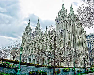 Mormon Temple In Early Spring Art Print by Gary Holmes