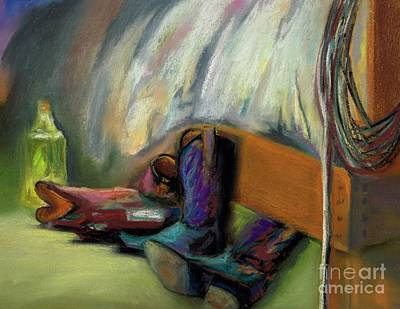 Cowgirl Boot Painting - Morning After The Rodeo by Frances Marino