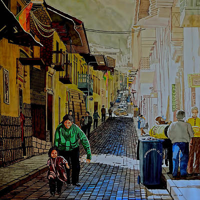 Painting - Morning At A Side Street In Cuzco by Andre Salvador
