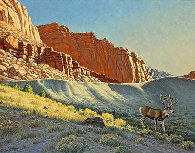 Mule Painting - Morning At Capitol Reef by Paul Krapf